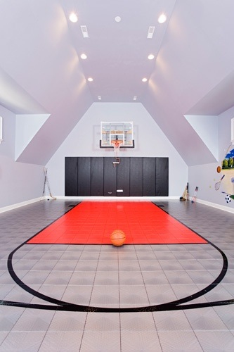 Jazz up your home stylish basketball courts for Custom indoor basketball court