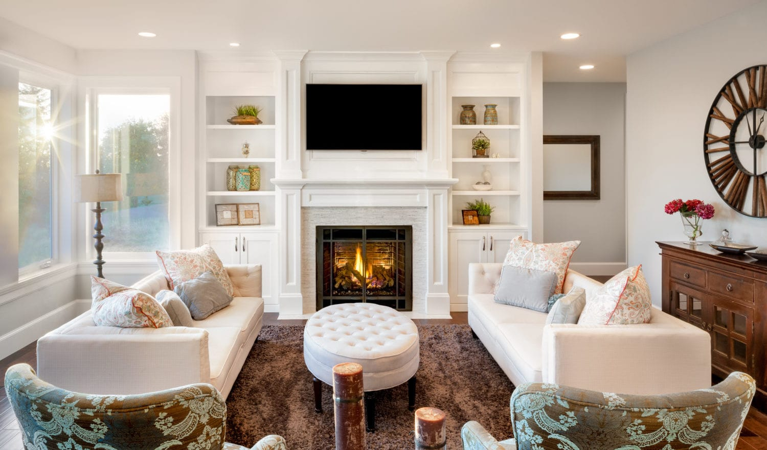 Living room with sun burst in luxury home