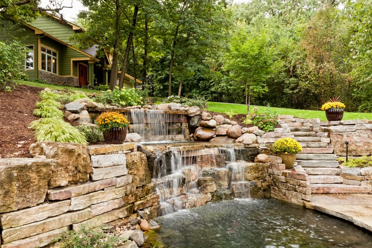 Beautifully landscaped waterfall and koi pond.